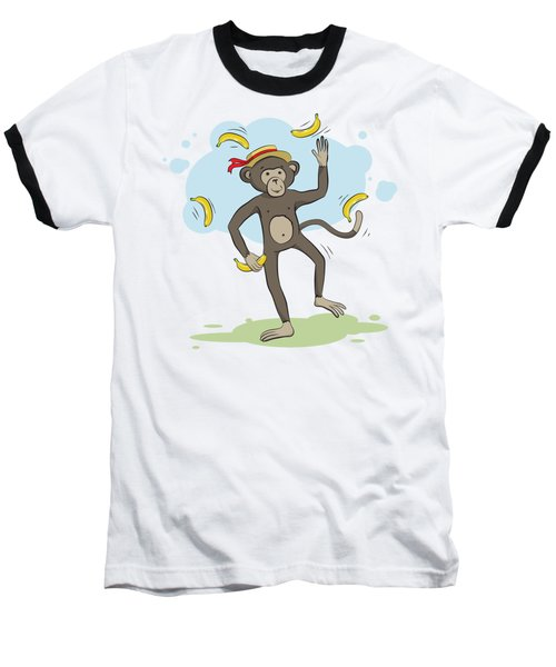 Monkey Juggling Bananas Baseball T-Shirt