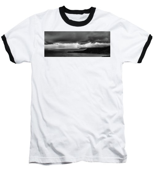 Monochrome Storm Panorama Baseball T-Shirt