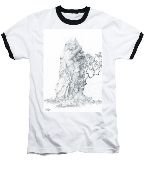Baseball T-Shirt featuring the drawing Monolith 2 by Curtiss Shaffer