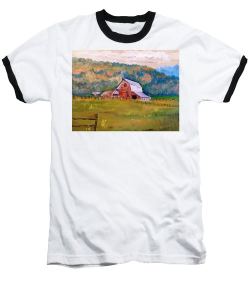 Montana Barn Baseball T-Shirt by Larry Hamilton