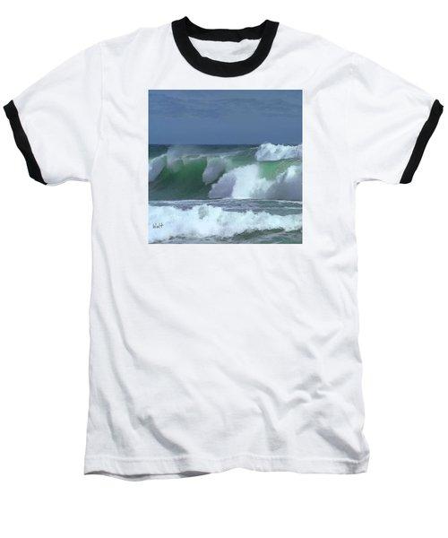 Baseball T-Shirt featuring the digital art Monterey Surf by Walter Chamberlain