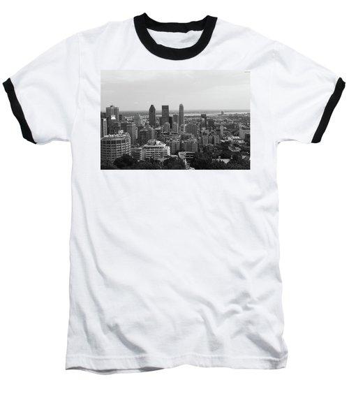 Montreal Cityscape Bw Baseball T-Shirt