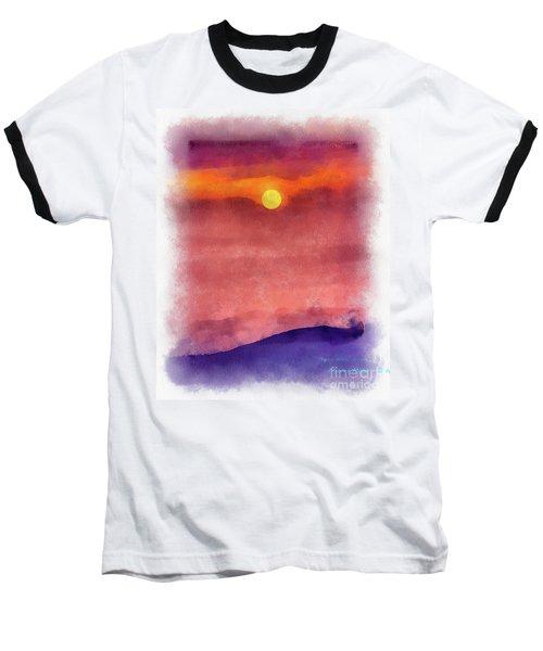 Moon Rise In Aquarelle Baseball T-Shirt