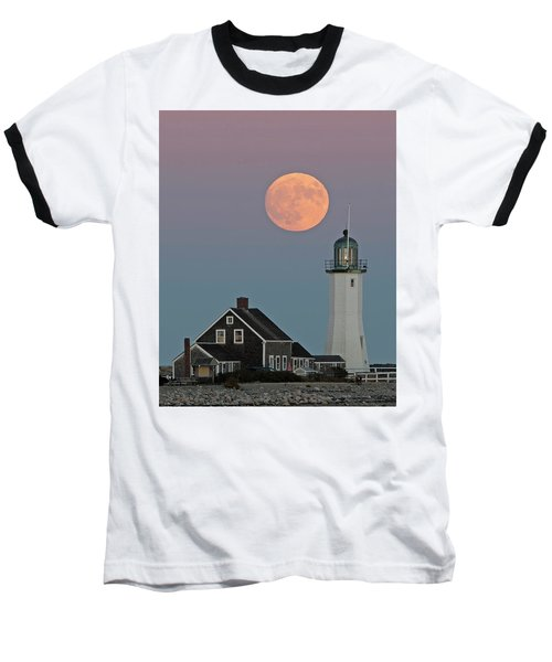 Moon Rise Over Scituate Baseball T-Shirt by Stephen Flint
