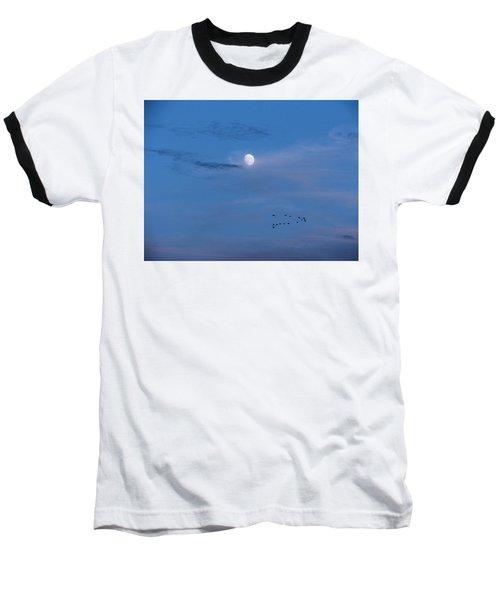 Moon Rises Geese Fly Baseball T-Shirt