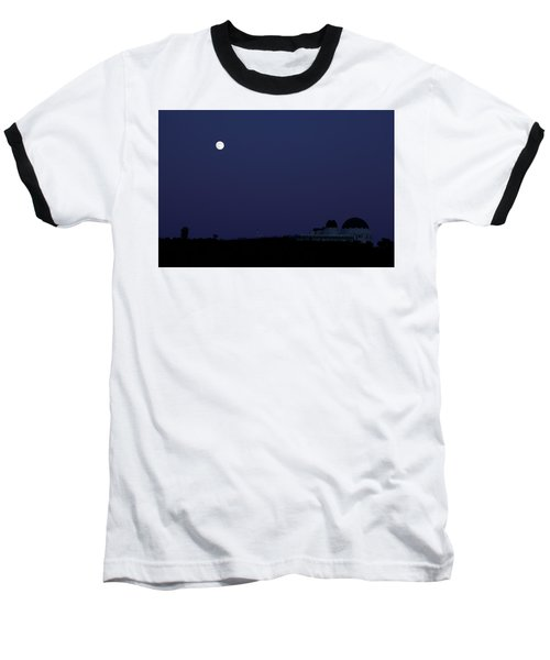 Moonrise At Blue Hour Over Griffith Observatory In Los Angeles Baseball T-Shirt