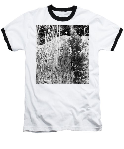Baseball T-Shirt featuring the digital art Moonrise Over The Mountain by Will Borden