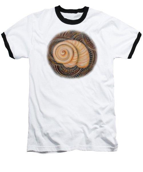 Moonsnail Mandala Baseball T-Shirt by Deborha Kerr