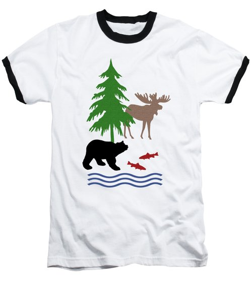 Moose And Bear Pattern Art Baseball T-Shirt