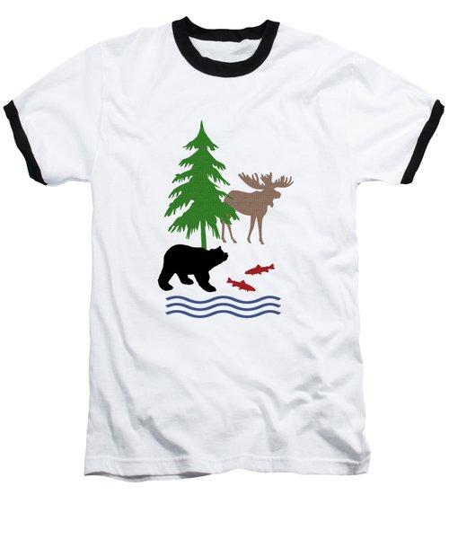Moose And Bear Pattern Baseball T-Shirt