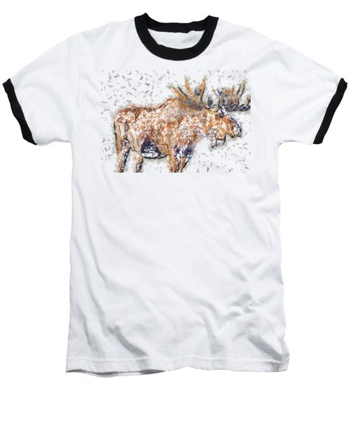 Baseball T-Shirt featuring the digital art Moose-sticks by Elaine Ossipov