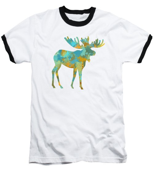 Moose Watercolor Art Baseball T-Shirt