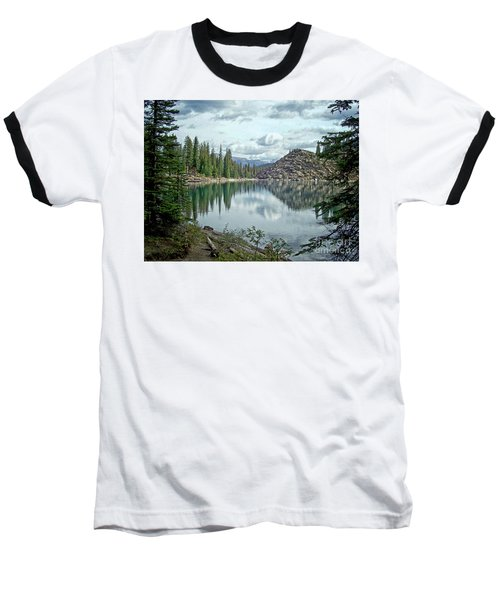 Moraine Lake Canadian Rockies Baseball T-Shirt by Lynn Bolt