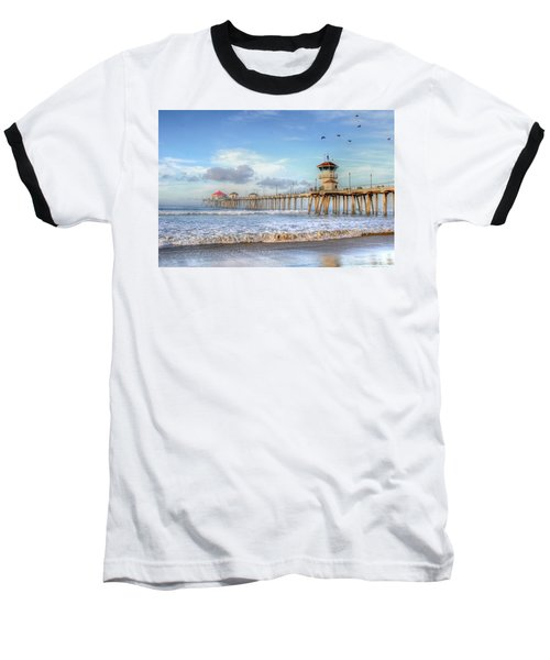Morning Birds Over Pier Baseball T-Shirt