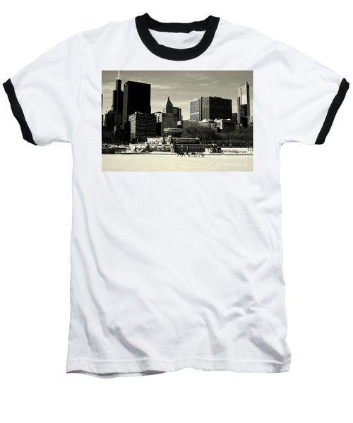 Morning Dog Walk - City Of Chicago Baseball T-Shirt