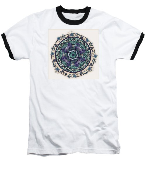 Morning Mist Mandala Baseball T-Shirt by Deborah Smith