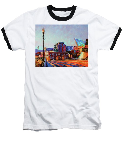 Morning Rush - The Corner Of Salem Avenue And Williamson Road In Roanoke Virginia Baseball T-Shirt by Bonnie Mason