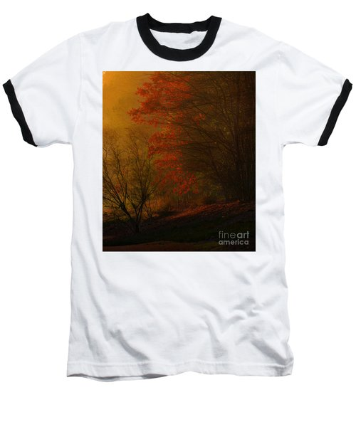 Morning Sunrise With Fog Touching The Tree Tops In Georgia. Baseball T-Shirt