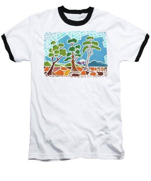 Mosaic Trees Baseball T-Shirt by Anthony Mwangi