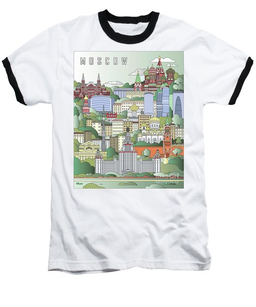 Moscow City Poster Baseball T-Shirt by Pablo Romero