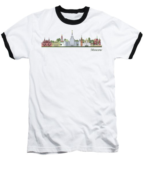 Moscow Skyline Colored Baseball T-Shirt by Pablo Romero