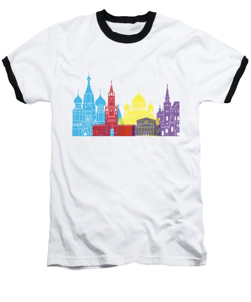 Moscow Skyline Pop Baseball T-Shirt by Pablo Romero