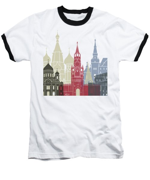 Moscow Skyline Poster Baseball T-Shirt by Pablo Romero