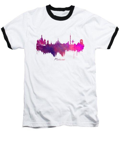 Moscow Skyline Purple Baseball T-Shirt by Justyna JBJart