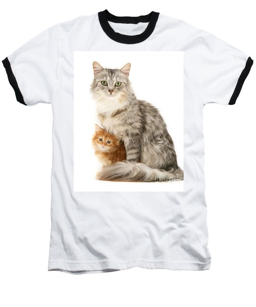 Mother Cat And Ginger Kitten Baseball T-Shirt