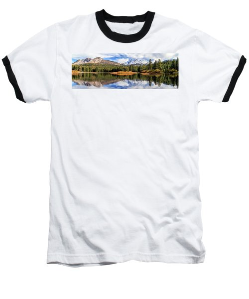 Mount Lassen Reflections Panorama Baseball T-Shirt