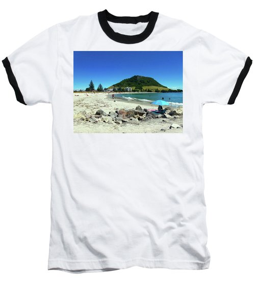 Mount Maunganui Beach 1 - Tauranga New Zealand Baseball T-Shirt by Selena Boron