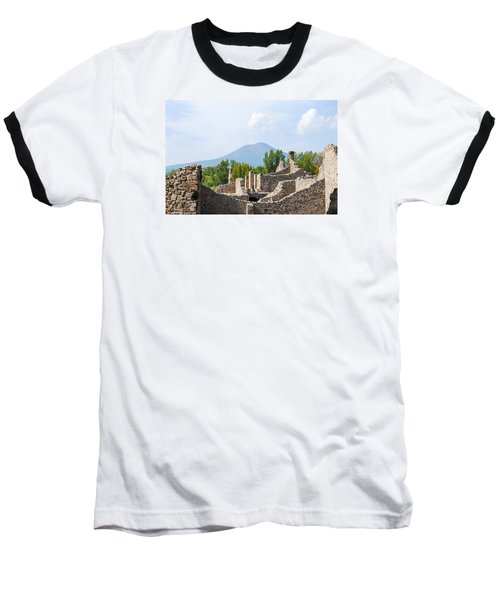 Mount Vesuvius Beyond The Ruins Of Pompei Baseball T-Shirt by Allan Levin