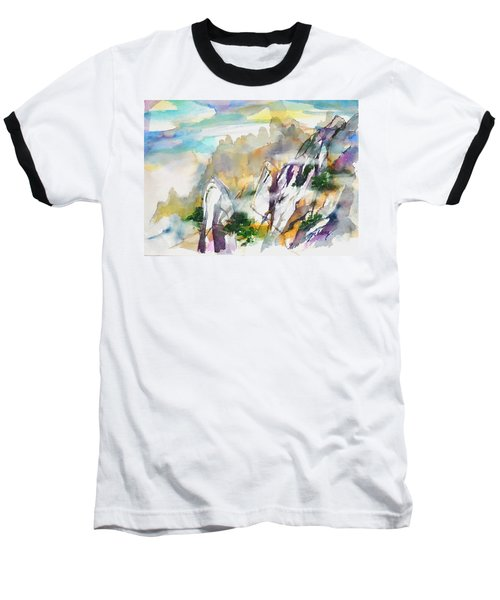 Mountain Awe #2 Baseball T-Shirt by Betty M M Wong
