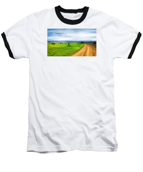 Mountain Biker Cycling Through Green Fields Baseball T-Shirt