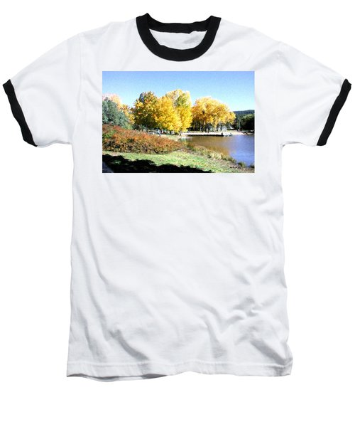 Mountain Lake Autumn Baseball T-Shirt