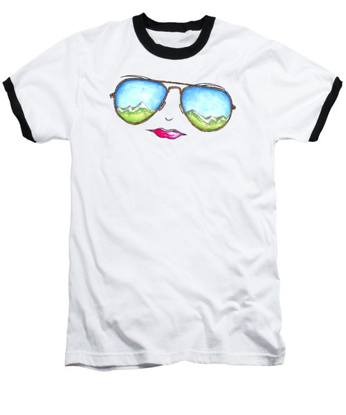 Mountain View Aviator Sunglasses Pop Art Painting Pink Lips Aroon Melane 2015 Collection Baseball T-Shirt