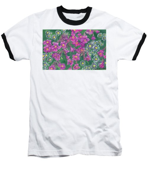 Baseball T-Shirt featuring the drawing Mountain Wild Flowers by Dawn Senior-Trask