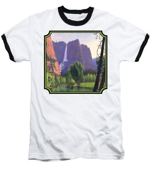 Mountains Waterfall Stream Western Landscape - Square Format Baseball T-Shirt