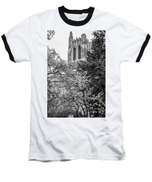 Msu Beaumont Tower Black And White 3 Baseball T-Shirt