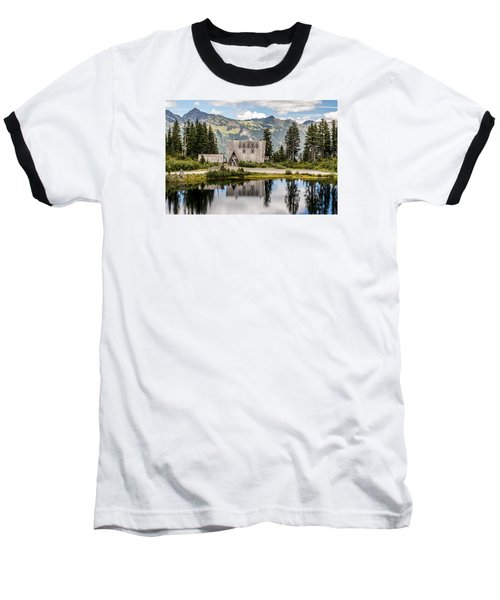 Mt Baker Lodge In Picture Lake 1 Baseball T-Shirt by Rob Green