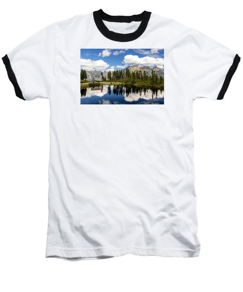 Mt Baker Lodge Reflection In Picture Lake 2 Baseball T-Shirt by Rob Green