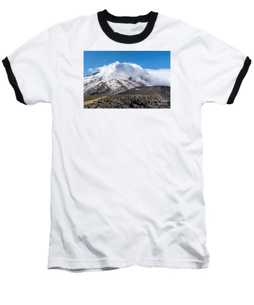 Mt Rainier In The Clouds Baseball T-Shirt by Sharon Seaward