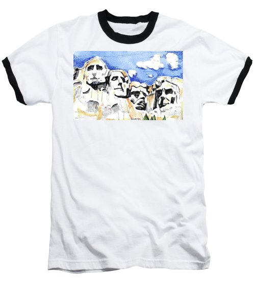 Baseball T-Shirt featuring the painting Mt. Rushmore, Usa by Terry Banderas