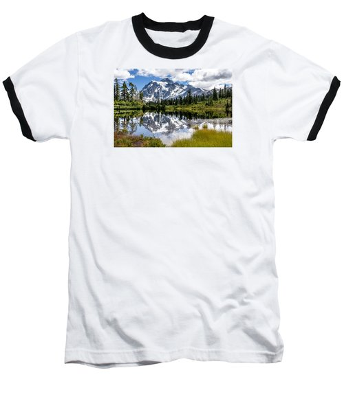 Mt Shuksan On Picture Lake 1 Baseball T-Shirt by Rob Green