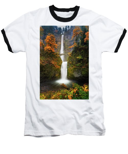 Multnomah Falls In Autumn Colors Baseball T-Shirt