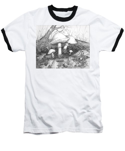 Baseball T-Shirt featuring the drawing Mushrooms -pencil Study by Doug Kreuger