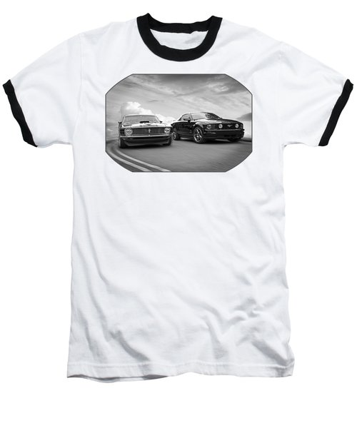 Mustang Buddies In Black And White Baseball T-Shirt by Gill Billington