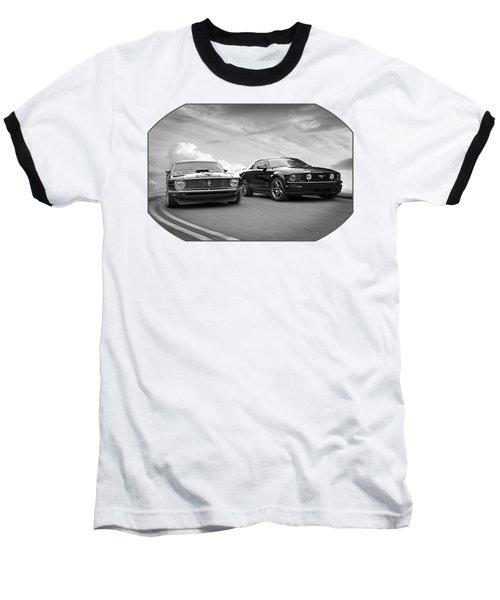 Mustang Buddies In Black And White Baseball T-Shirt