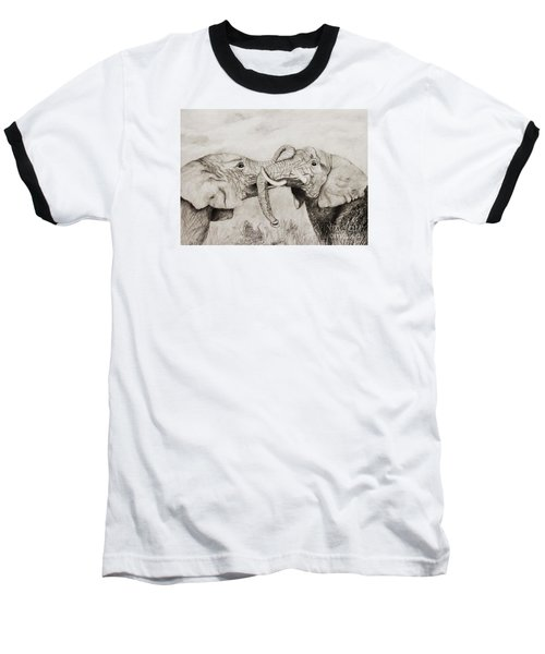 Baseball T-Shirt featuring the drawing My Dad Is Bigger Than Your Dad by John Stuart Webbstock
