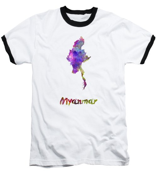 Myanmar In Watercolor Baseball T-Shirt
